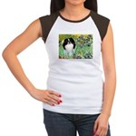 Irises/Japanese Chin Women's Cap Sleeve T-Shirt
