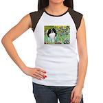 Irises/Japanese Chin Women's Cap Sleeve T-Shirt