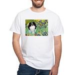 Irises/Japanese Chin White T-Shirt