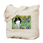 Irises/Japanese Chin Tote Bag