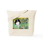 Irises/Japanese Chin Tote Bag