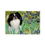 Irises/Japanese Chin Rectangle Magnet (10 pack)