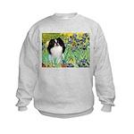 Irises/Japanese Chin Kids Sweatshirt