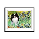 Irises/Japanese Chin Framed Panel Print