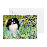Irises/Japanese Chin Greeting Card