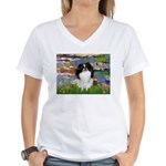 Lilies (#2)/Japanese Chin Women's V-Neck T-Shirt