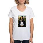 Mona Lisa/Japanese Chin Women's V-Neck T-Shirt