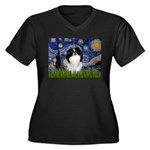 Starry/Japanese Chin Women's Plus Size V-Neck Dark