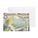 Biscuits Chocolat Delacre Vintage Ad Greeting Card