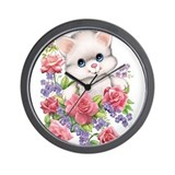 Kitty & Flowers Wall Clock