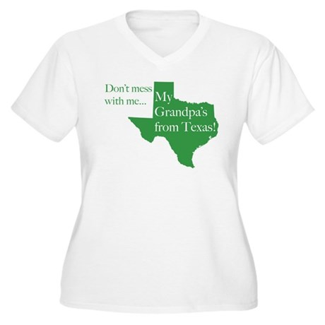 Grandpa's From Texas Women's Plus Size V-Neck T-Sh