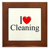 """I Love Cleaning"" Framed Tile"