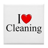 """I Love Cleaning"" Tile Coaster"