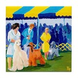 Afghan Hounds in the ring Tile Coaster