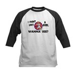 Fight Like A Girl 3 Kids Baseball Jersey