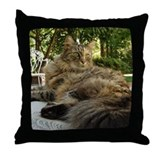 Maine Coon cat bushy tail Throw Pillow