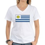 Uruguay Blank Flag Women's V-Neck T-Shirt