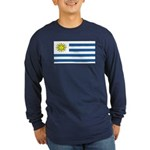 Uruguay Blank Flag Long Sleeve Dark T-Shirt