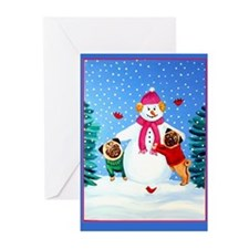 Pugs Frosty's Helpers  Greeting Cards (Pk of 10)