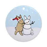 Snow Bunny Christmas Ornament (Round)