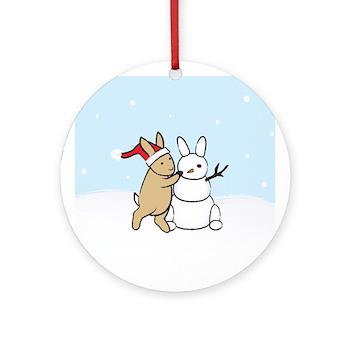 Snow Bunny Christmas Ornament (Round)