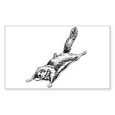 Flying Squirrel Illustration Sticker (Rectangular