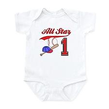 AllStar Baseball First Birthday Infant Bodysuit