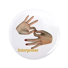 "Female Interpreter Hands 3.5"" Button"