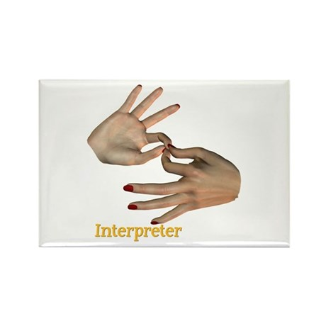 Female Interpreter Rectangle Magnet