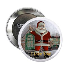 "Santa ""I Love You"" 2.25"" Button"
