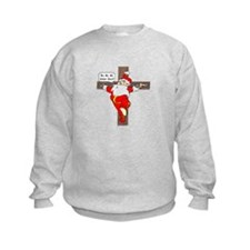 Santa on a crucifix Sweatshirt