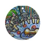 Pug Birthday bash Ornament (Round)