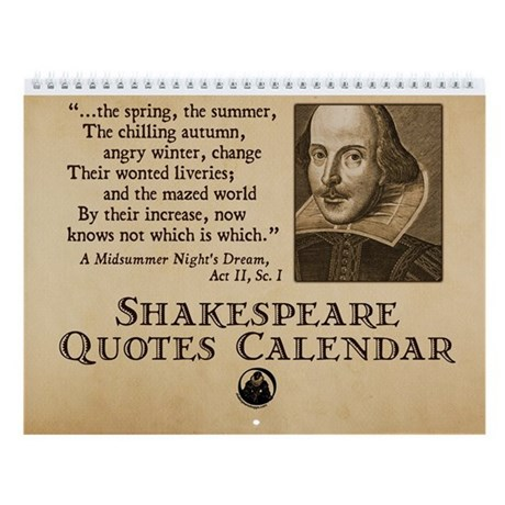 Shakespeare Quotes Wall Calendar by shakespeareink