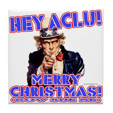 Merry Christmas ACLU Tile Coaster
