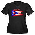 Ohio State Flag Women's Plus Size V-Neck Dark T-Sh