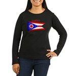 Ohio State Flag Women's Long Sleeve Dark T-Shirt