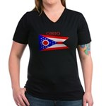 Ohio State Flag Women's V-Neck Dark T-Shirt