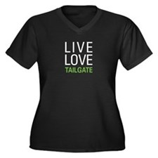 Live Love Tailgate Women's Plus Size V-Neck Dark T