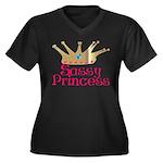 Sassy Princess Women's Plus Size V-Neck Dark T-Shi