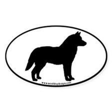 Husky Dog Breed (black border) Oval Decal