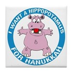 Hippopotamus For Hanukkah Tile Coaster