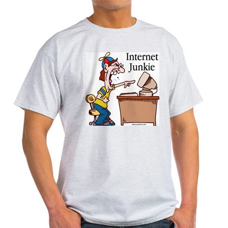 """Internet Junkie"" #2 Ash Grey T-Shirt"