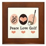 Peace Love Golf Golfing Framed Tile