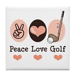 Peace Love Golf Golfing Tile Coaster