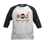 Peace Love Golf Golfing Kids Baseball Jersey