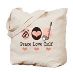 Peace Love Golf Golfing Tote Bag