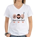 Peace Love Golf Golfing Women's V-Neck T-Shirt