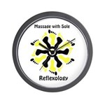 Reflexology Yellow & Black Wall Clock