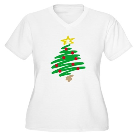CHRISTMAS TREE (HAND-DRAWN) Women's Plus Size V-Ne