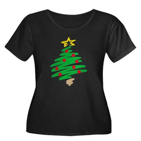 CHRISTMAS TREE (HAND-DRAWN) Women's Plus Size Scoo